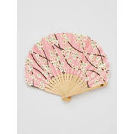 【カヤ】枝梅扇子 袋付き ピンク