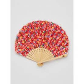【カヤ】千代桜扇子 袋付き レッド