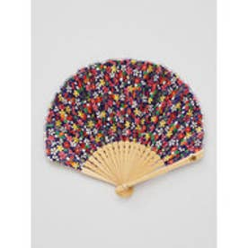【カヤ】千代桜扇子 袋付き ネイビー