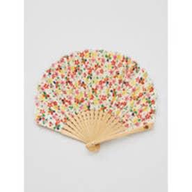 【カヤ】千代桜扇子 袋付き ホワイト