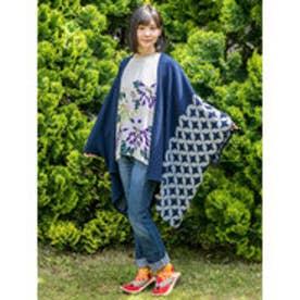 【カヤ】-attakee- 紋色羽織り ビッグシルエットニットカーディガン ダークブルー