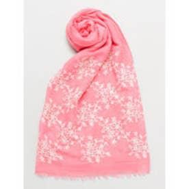 【カヤ】花刺繍つなぎストール ピンク