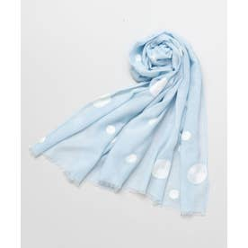 【カヤ】水玉模様 刺繍ストール ブルー