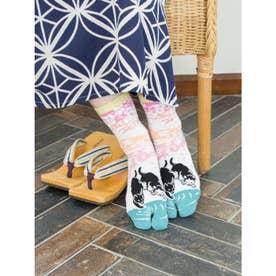 【カヤ】足袋型くつ下23~25cm 流水と猫 ホワイト×ピンク