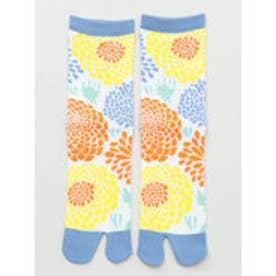 【カヤ】足袋型くつ下23~25cm 菊あつめ ブルー