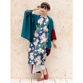 【カヤ】-attakee- 七宝柄 華色羽織り ビッグシルエットニットカーディガン ブルーグリーン