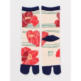 【カヤ】足袋型くつ下23~25cm けしの花 レッド