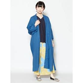 【カヤ】着物見立て羽織り ロングカーディガン ブルー