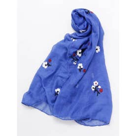 【カヤ】小花刺繍ストール ブルー
