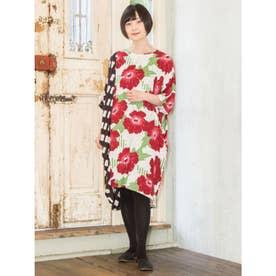 【カヤ】小紋葵ワンピース ホワイト×レッド