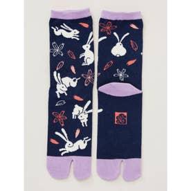 【カヤ】桜うさぎ足袋型くつ下23~25cm ネイビー