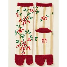 【カヤ】南天(なんてん)足袋型くつ下23~25cm ホワイト×レッド