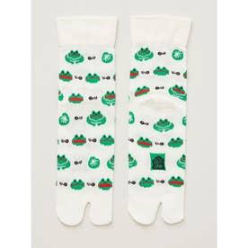 【カヤ】涼しさ、さらり 鹿の子編み足袋くつ下中丈23~25cm ホワイト×グリーン