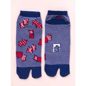 【カヤ】涼しさ、さらり 鹿の子編み足袋くつ下 短丈23~25cm ダークブルー