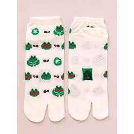 【カヤ】涼しさ、さらり 鹿の子編み足袋くつ下 短丈23~25cm ホワイト×グリーン