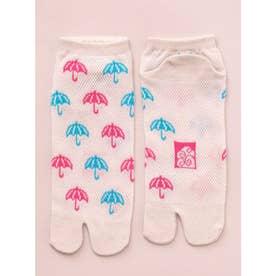 【カヤ】涼しさ、さらり 鹿の子編み足袋くつ下 短丈23~25cm ホワイト×ピンク