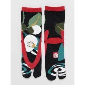 【カヤ】足袋型くつ下23~25cm 鼻緒 椿 ブラック×レッド