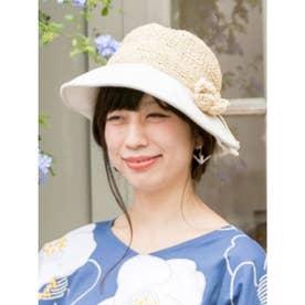 【カヤ】花たたみハット 巾着ポーチ付き ホワイト