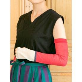 【カヤ】-腕守り- 和色メッシュUVカットアームカバー 巾着ポーチ付き ホワイト×レッド