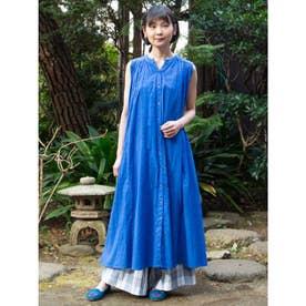 【カヤ】七宝繋ぎノースリーブワンピース ブルー