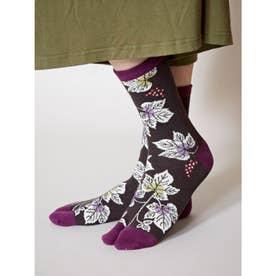 【カヤ】足袋型くつ下23~25cm 葡萄 ブラック