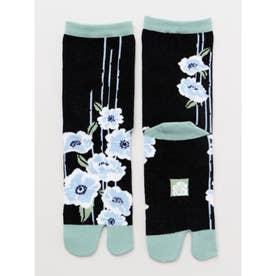【カヤ】足袋型くつ下23~25cm 雨縞椿 ブラック