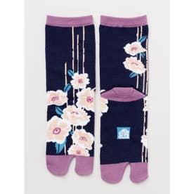【カヤ】足袋型くつ下23~25cm 雨縞椿 パープル