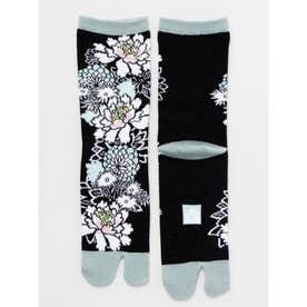 【カヤ】足袋型くつ下23~25cm 花づくし ブラック