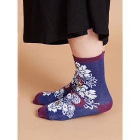 【カヤ】足袋型くつ下23~25cm 花づくし ネイビー