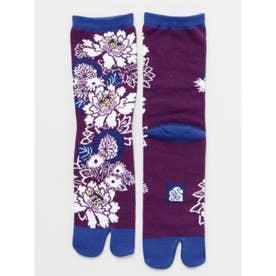 【カヤ】足袋型くつ下23~25cm 花づくし パープル