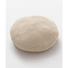 【カヤ】細編みメッシュベレー帽 ベージュ