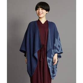【カヤ】紋色羽織り ビッグシルエットニットカーディガン ネイビー