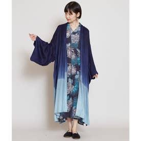 【カヤ】雪解け 着物風ロング羽織り UVカット加工 ネイビー