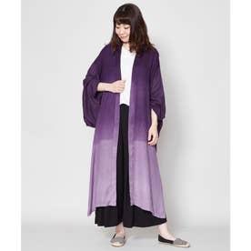 【カヤ】雪解け 着物風ロング羽織り UVカット加工 パープル