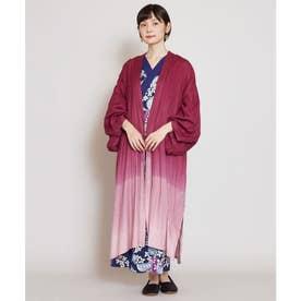 【カヤ】雪解け 着物風ロング羽織り UVカット加工 レッド