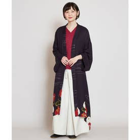 【カヤ】冬牡丹 着物風ロング羽織り UVカット加工 スミクロ