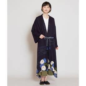 【カヤ】冬牡丹 着物風ロング羽織り UVカット加工 ネイビー