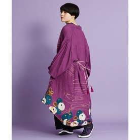 【カヤ】冬牡丹 着物風ロング羽織り UVカット加工 パープル