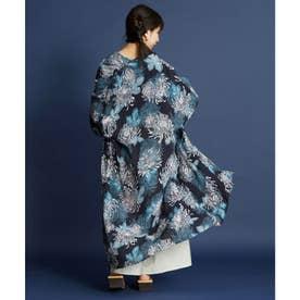 【カヤ】こぼれ菊 着物風長羽織り UVカット加工 スミクロ