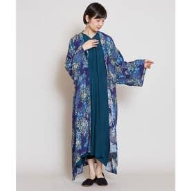【カヤ】こぼれ菊 着物風長羽織り UVカット加工 ネイビー