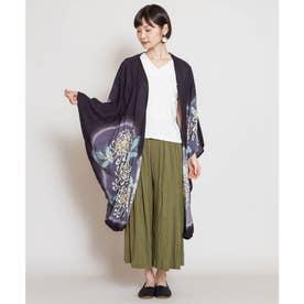 【カヤ】花笑み振袖羽織り UVロングカーディガン ブラック
