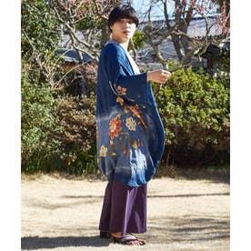 【カヤ】花笑み振袖羽織り UVロングカーディガン ネイビー