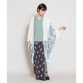 【カヤ】花笑み振袖羽織り UVロングカーディガン ホワイト