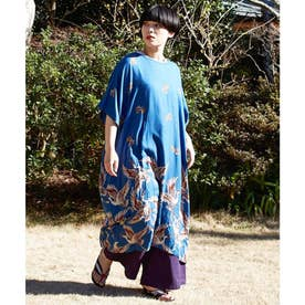 【カヤ】鶴模様ワンピース ブルー