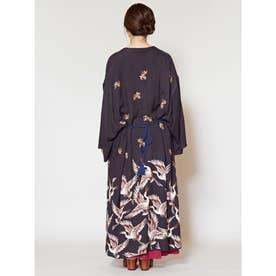 【カヤ】鶴模様UV羽織り ブラック