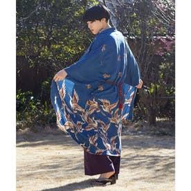 【カヤ】鶴模様UV羽織り ブルー