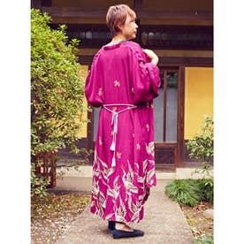 【カヤ】鶴模様UV羽織り パープル