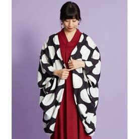 【カヤ】窓越し雨模様UVカットロング羽織り スミクロ