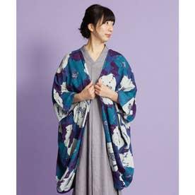 【カヤ】椿晴れ模様UVカットロング羽織り ネイビー