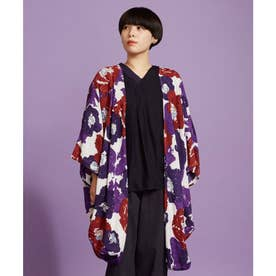 【カヤ】椿晴れ模様UVカットロング羽織り レッド